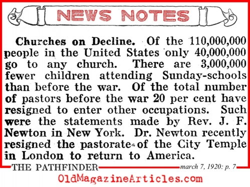 1920s church attendance declines men church statistics church