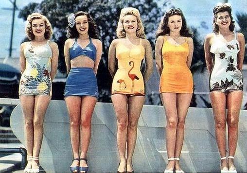 1947 SWIMWEAR,BIKINI OF 1947,LATE FORTIES BEACHWEAR ...
