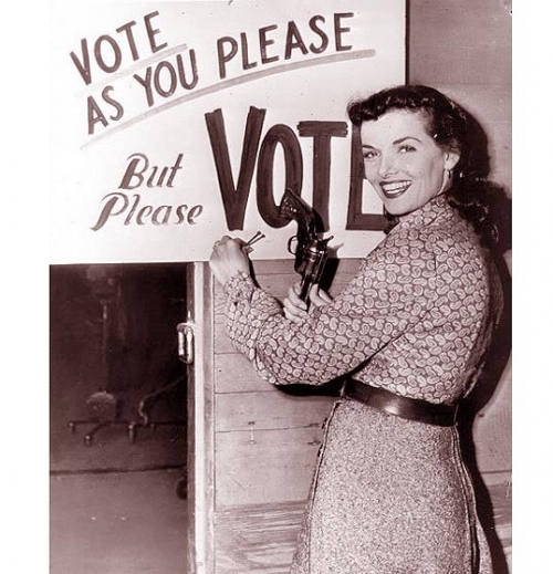 Jane Russell promoting voting