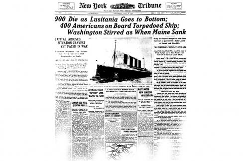 RMS Lusitania Torpedoed <br />(NY Times, 1915)