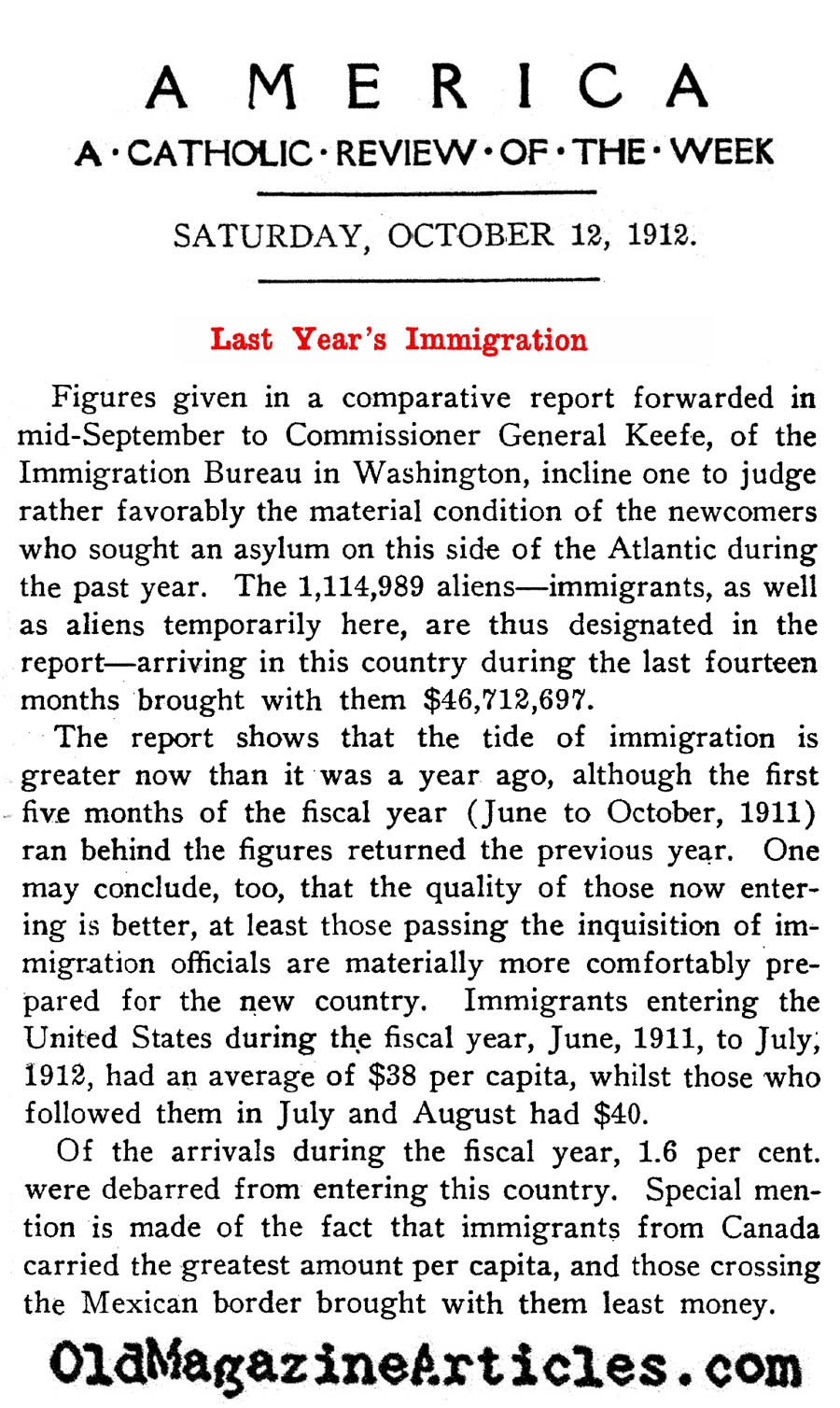 A Fiscal Report on the Immigrants of 1911   (America Magazine, 1912)