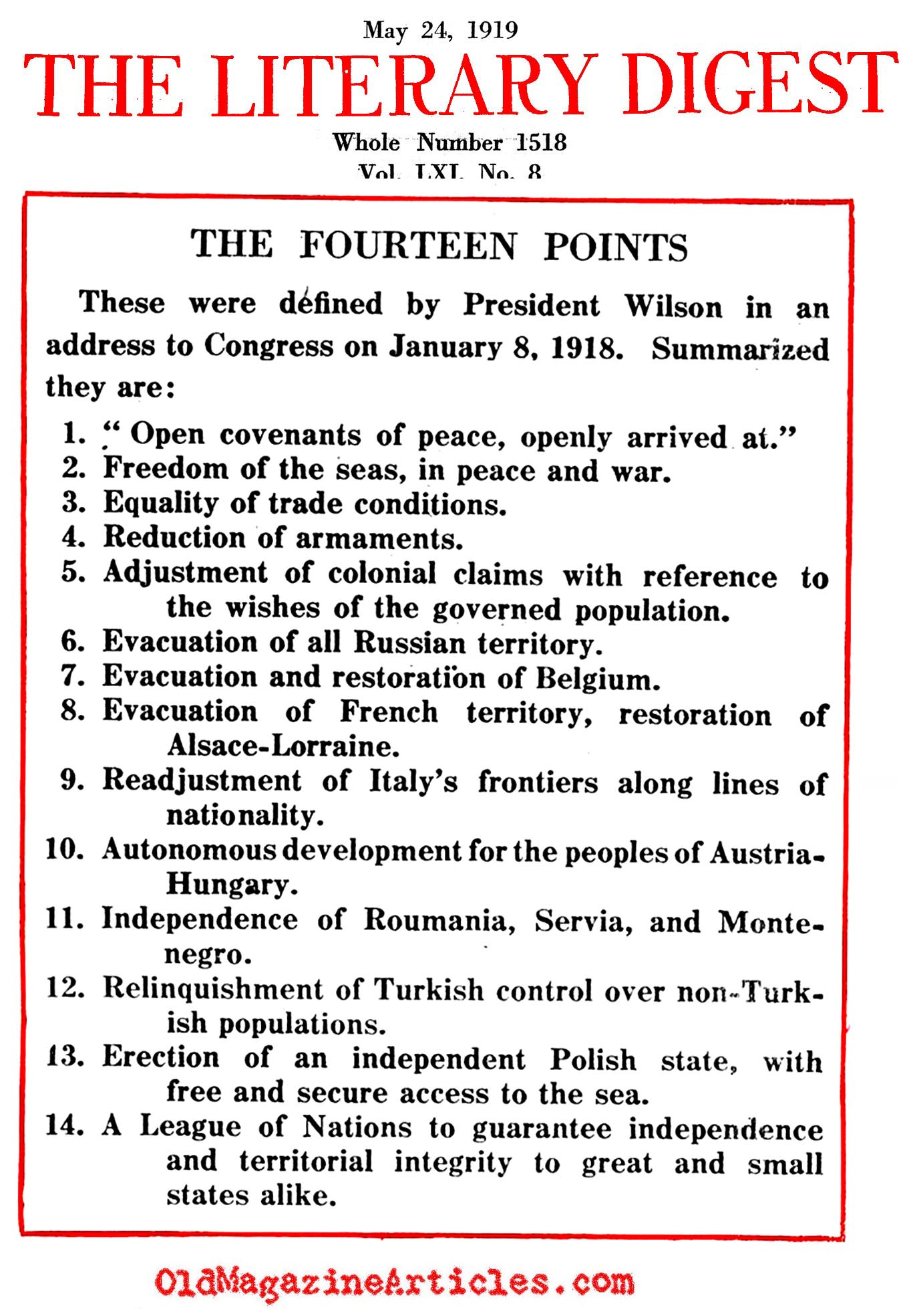 Wilson's Fourteen Points   <BR> (Literary Digest, 1919)