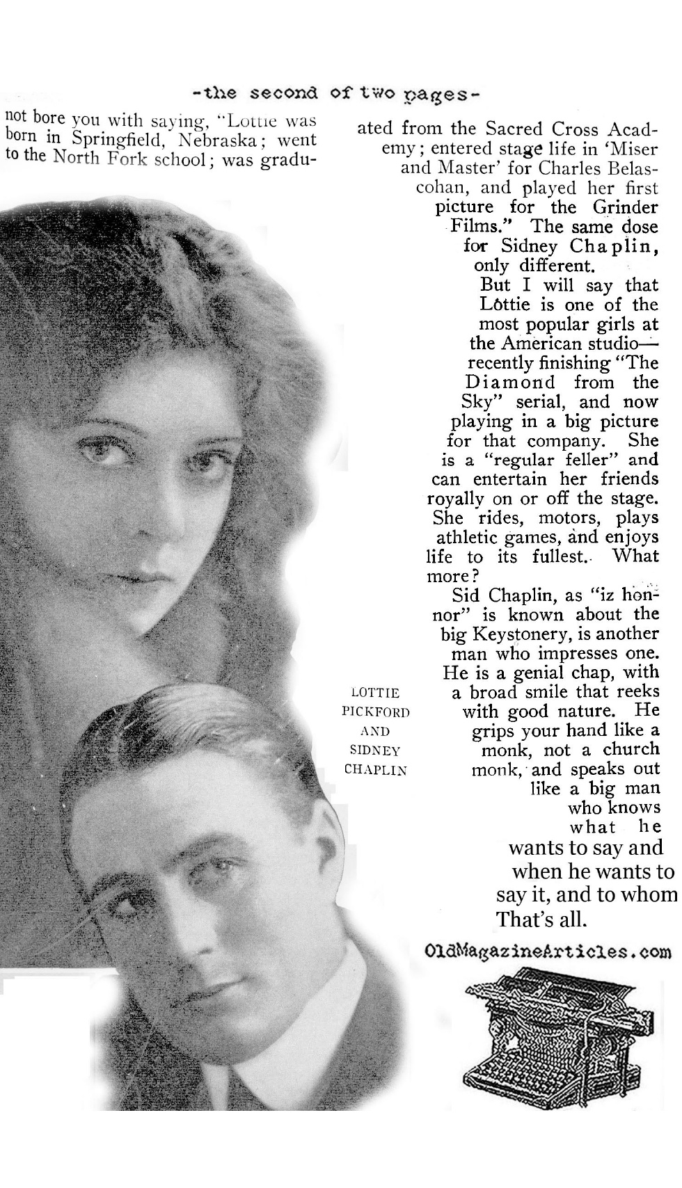 Charlie Chaplin's Brother (Motion Pictur Magazine, 1916)