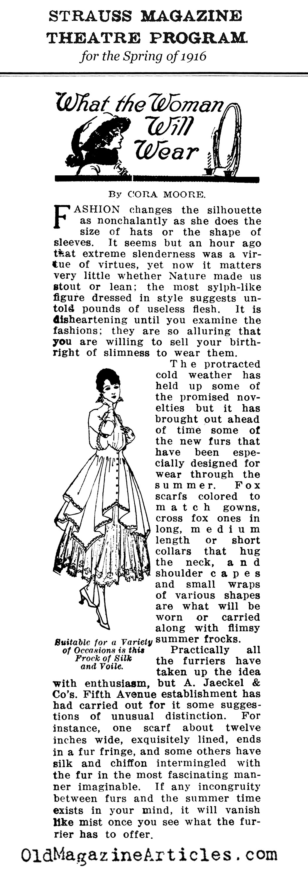 World War I Fashions in the Spring of 1916 (Strauss Magazine, 1916)