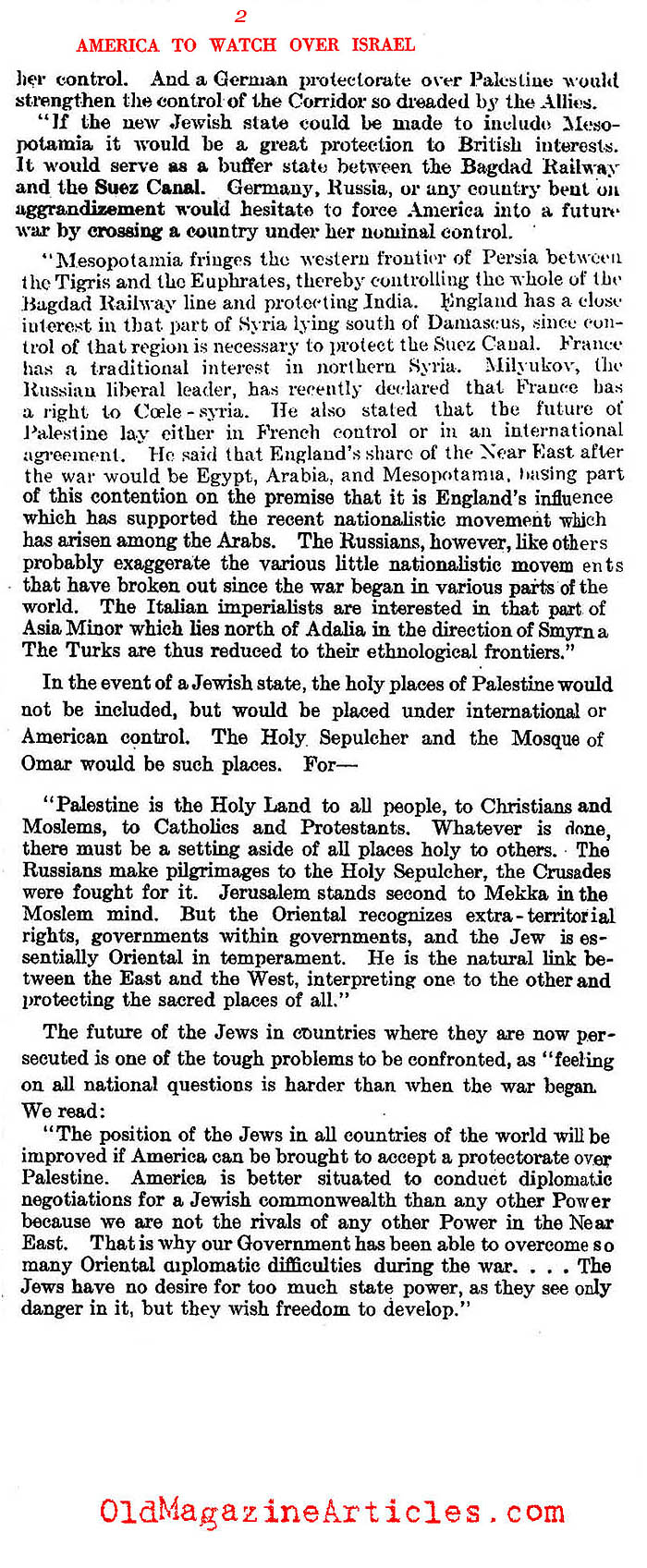 Anticipating America's Unique Relationship With Israel (Literary Digest, 1917)
