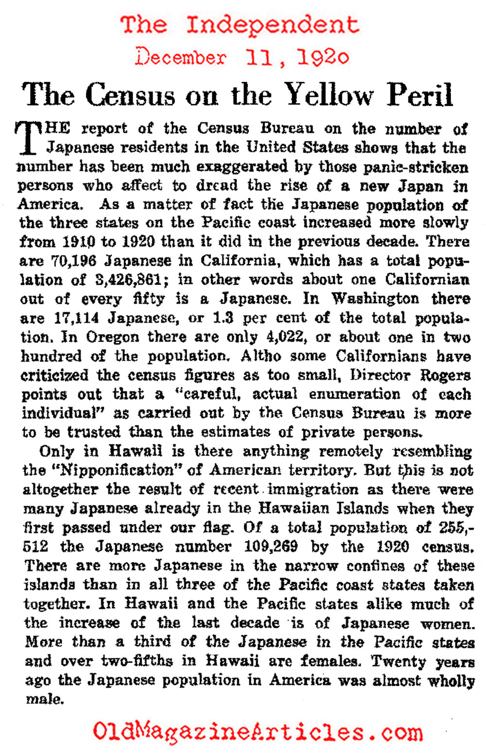 1920 CENSUS INFO AND THE ANTI-ASIAN HYSTERIA,JAPANESE-AMERICAN ...