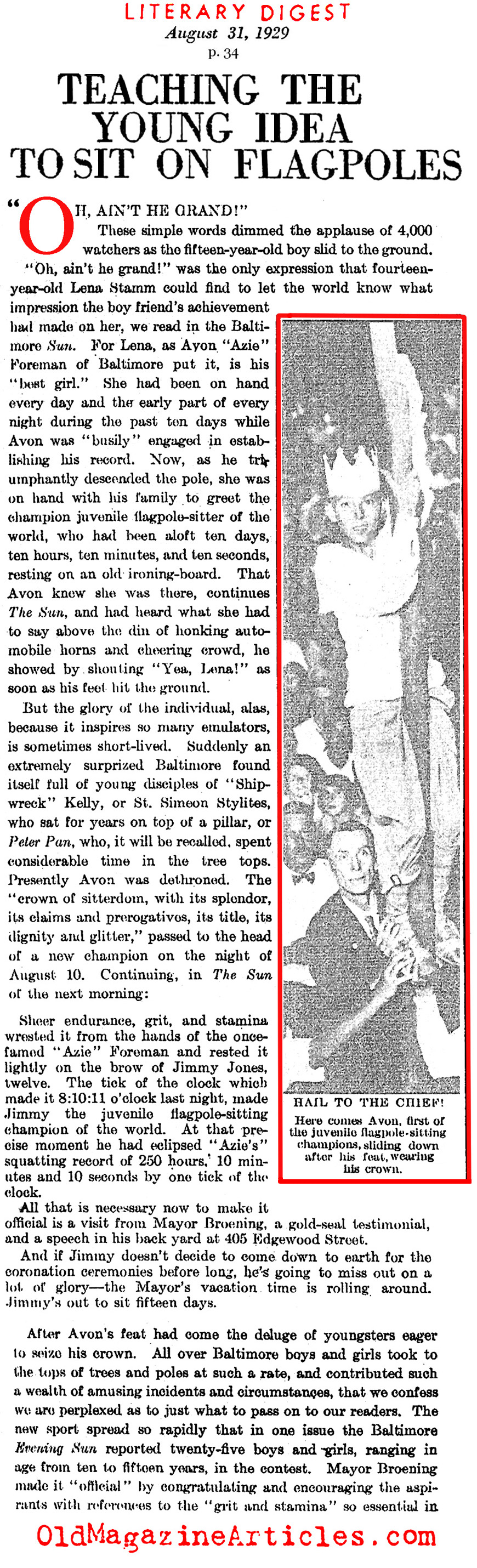 The 1920s Craze for Flagpole Sitting (Literary Digest, 1929)
