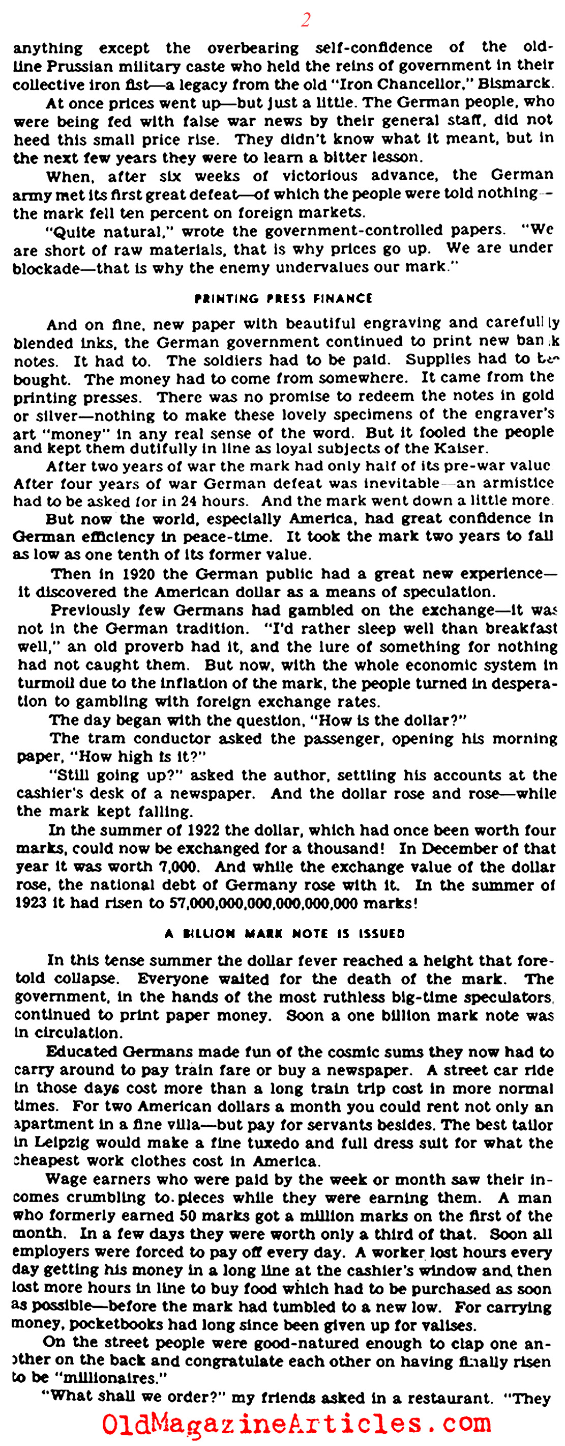 Rampant Inflation in Post-War Germany (Click Magazine, 1944)