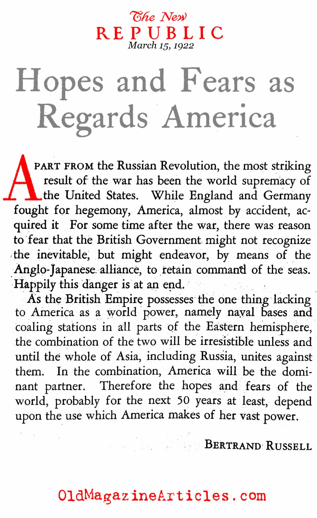 The Emergence of a New World Power (The New Republic, 1922)