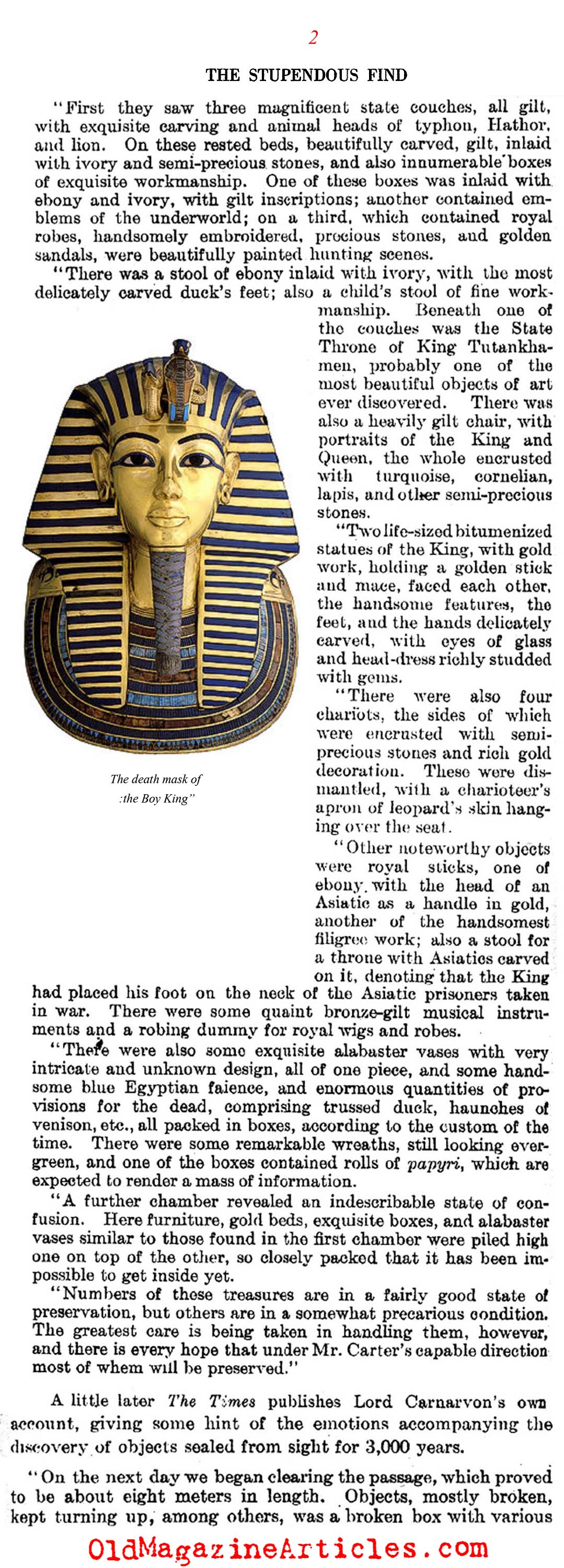 Discovered: The Tomb of King Tutankhamun (Literary Digest, 1923)