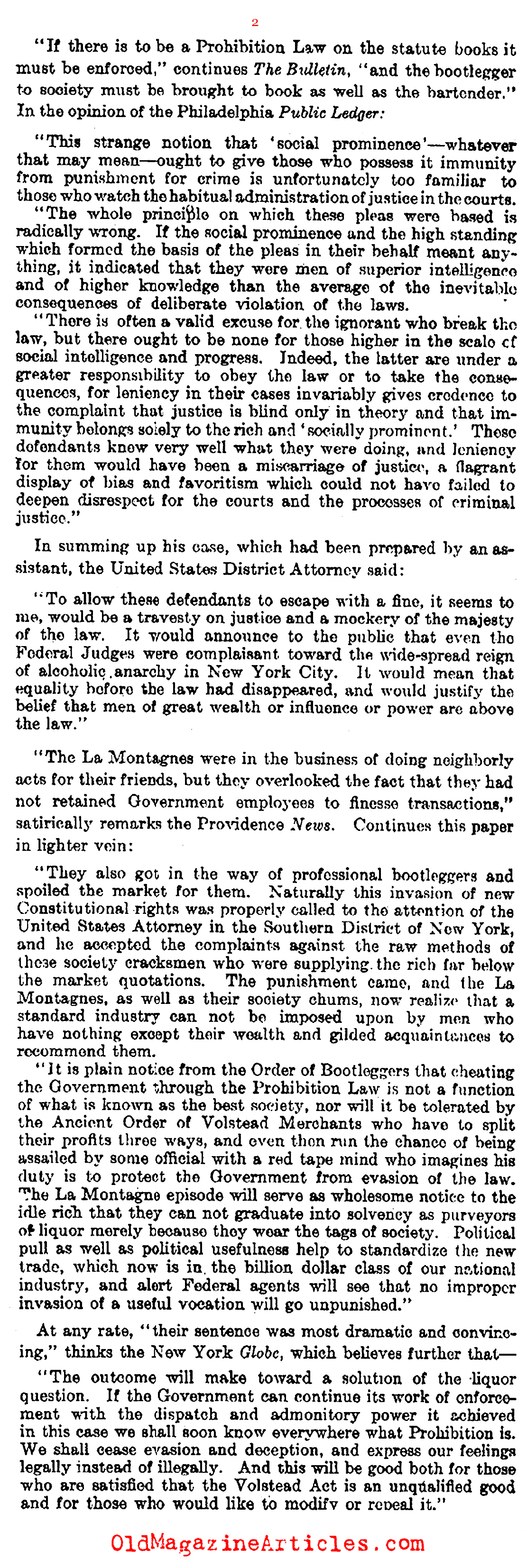 Upper-Class Bootleggers Arrested (Literary Digest, 1923)
