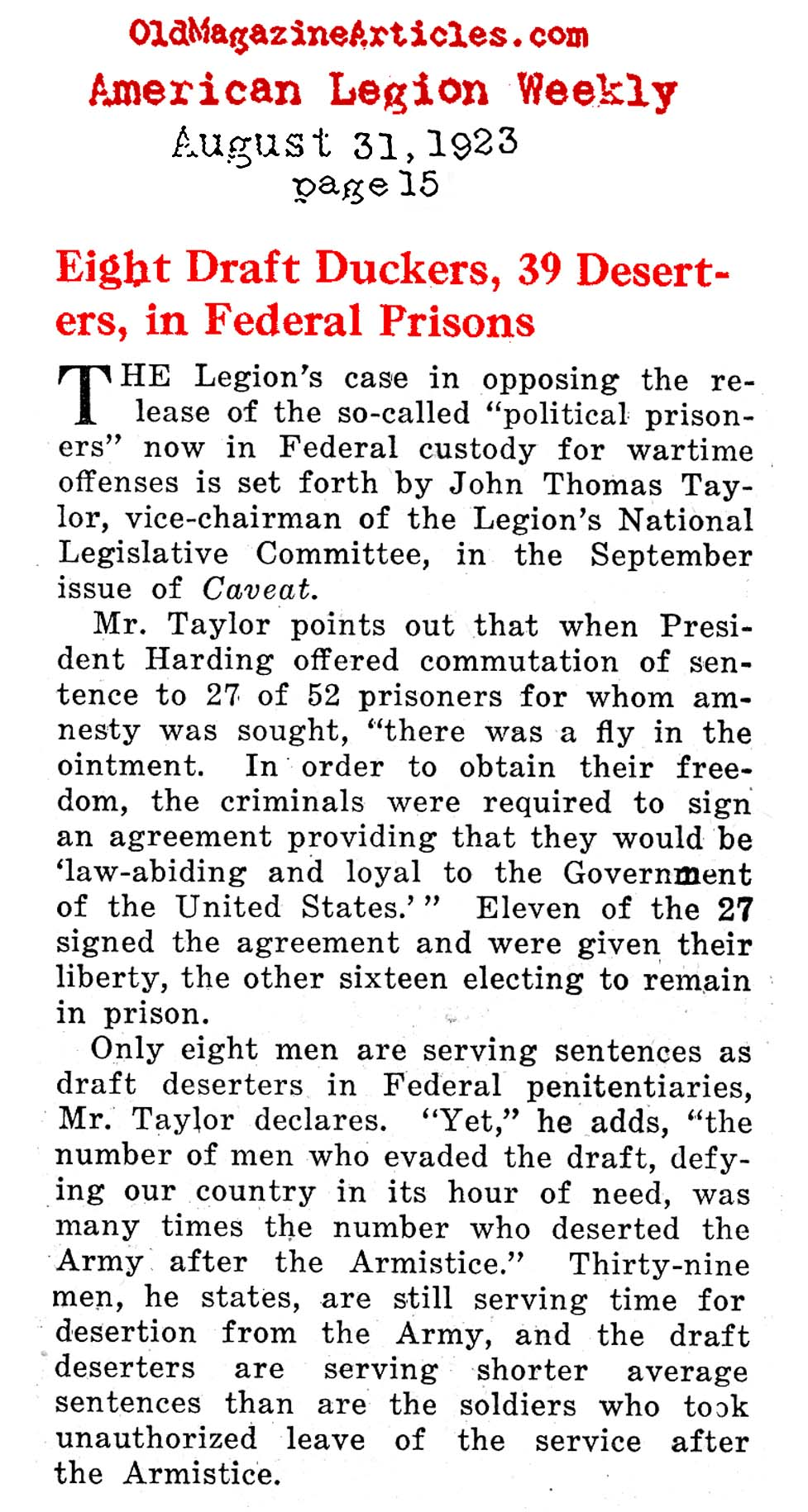 Draft-Dodgers and Deserters in Federal Prison (American Legion Weekly, 1923)