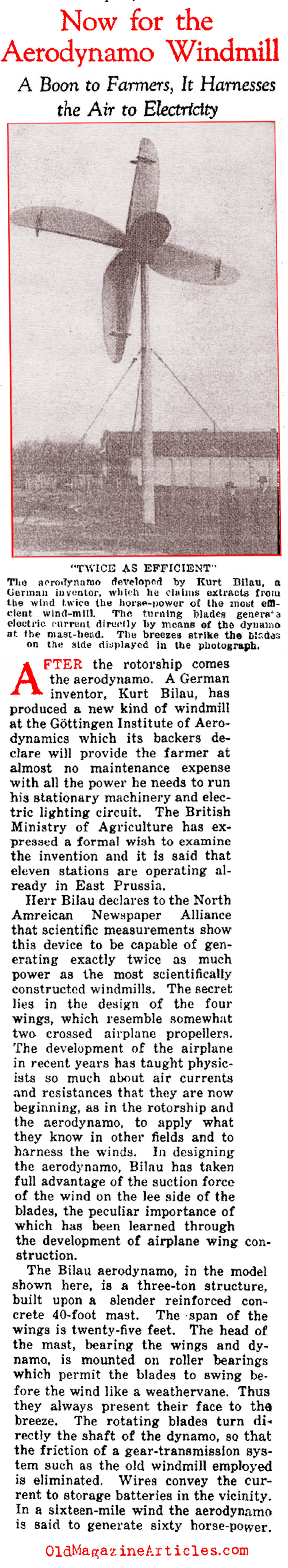 Recognizing the Potential of Wind Power (Current Opinion, 1925)