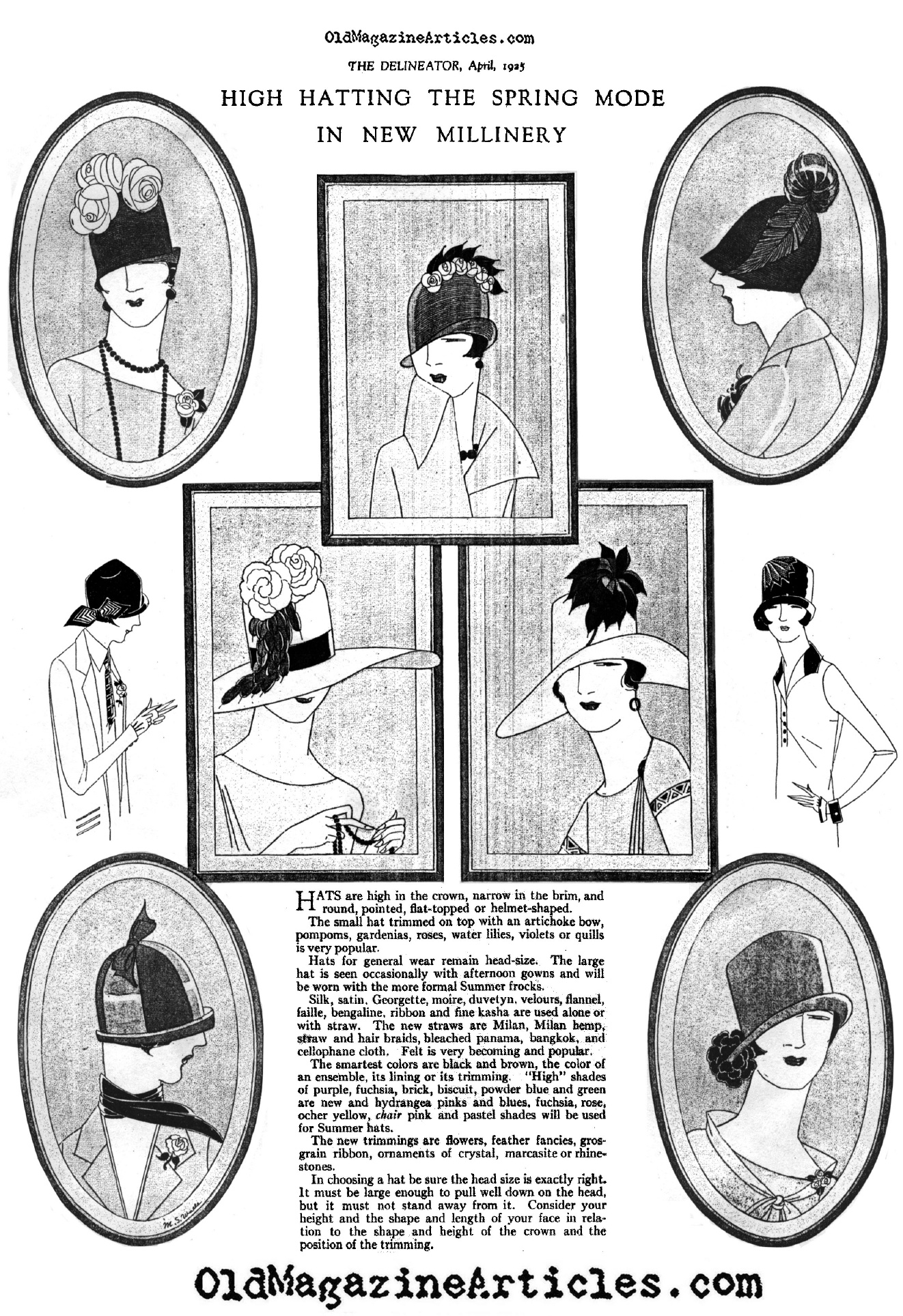 1920s Woman Drawings Hats From The Spring of 1925