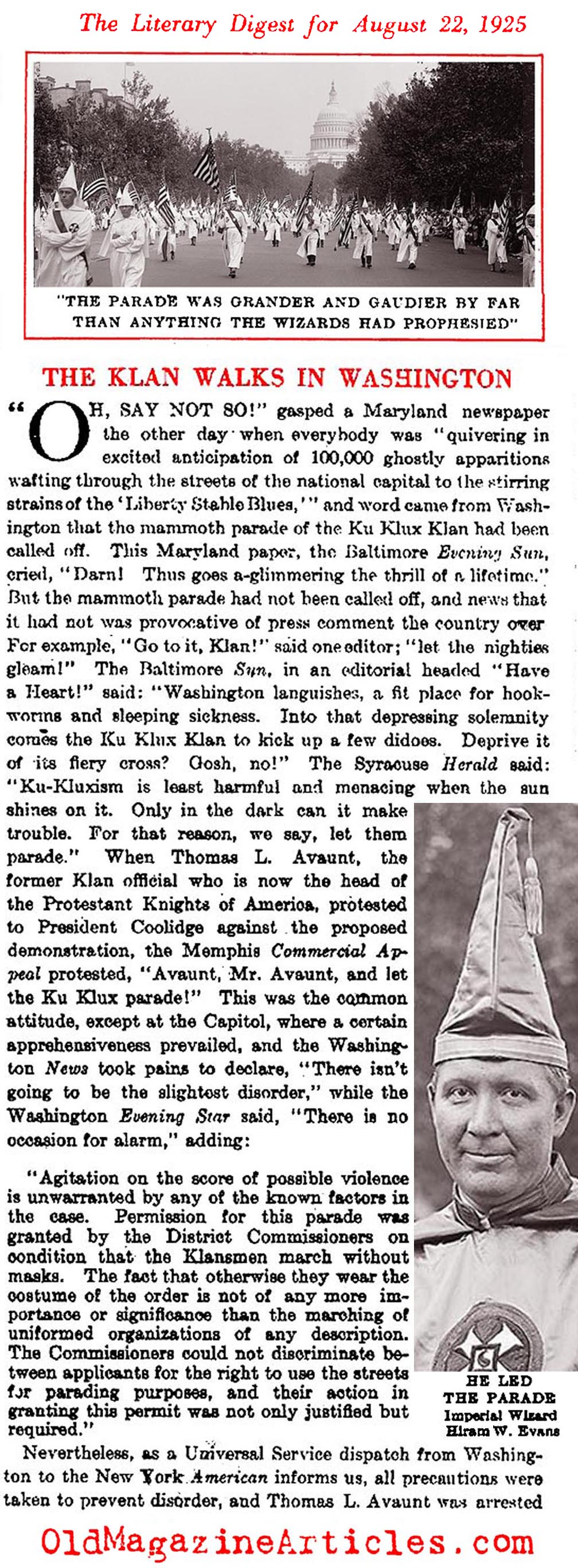 50,000 Klansmen March in Washington, D.C. (Literary Digest, 1925)