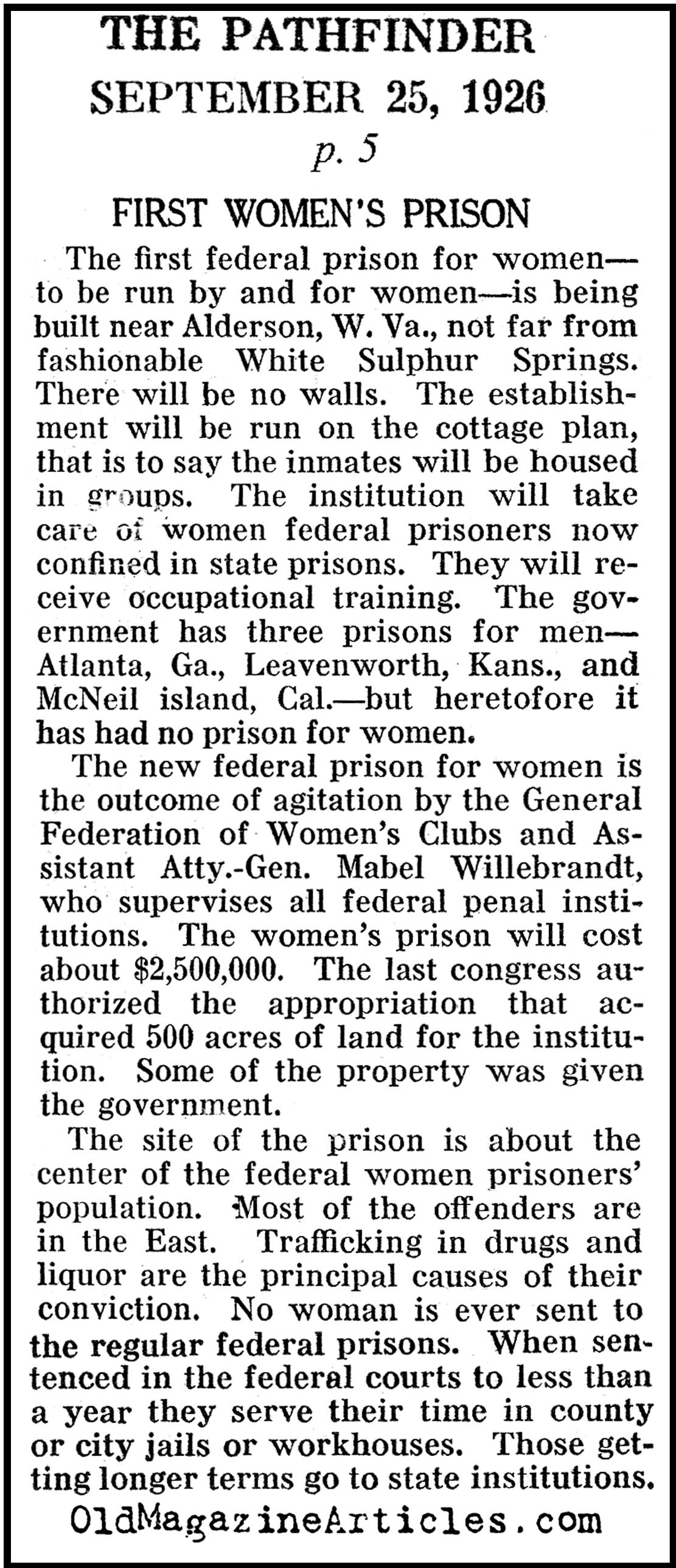 Prohibition Builds the First U.S. Prison for Women (Pathfinder Magazine, 1926)