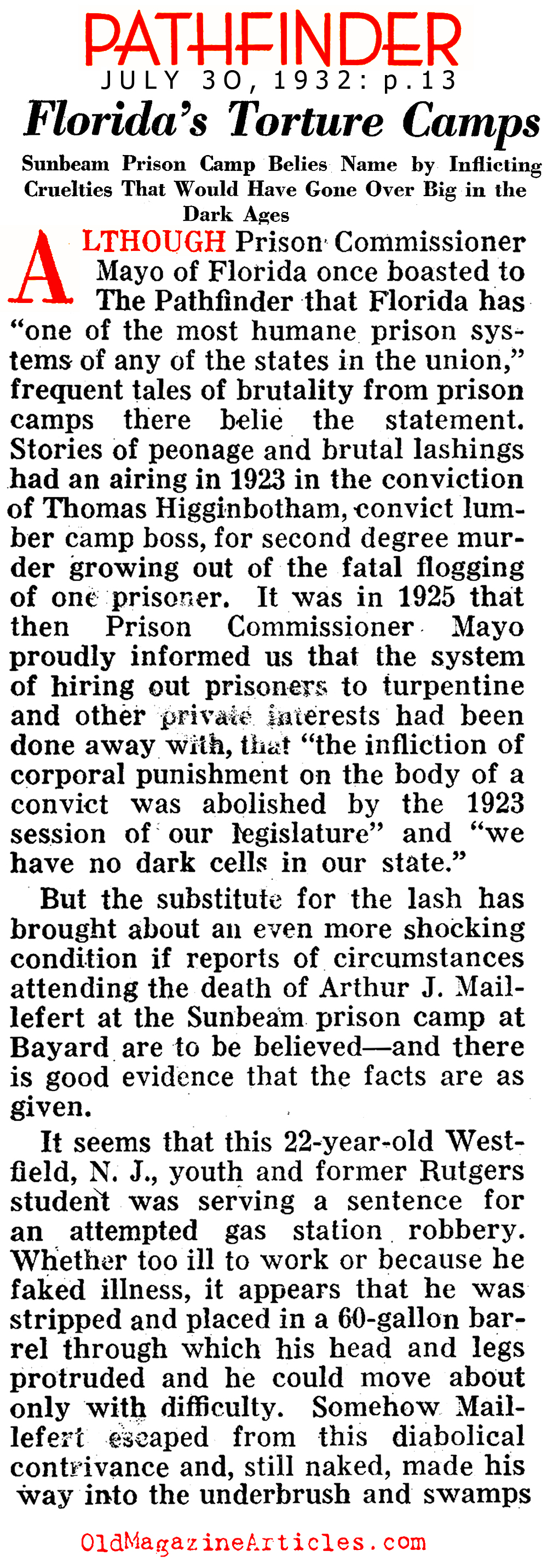 Abuses at Sunbeam Prison (Pathfinder Magazine, 1932)