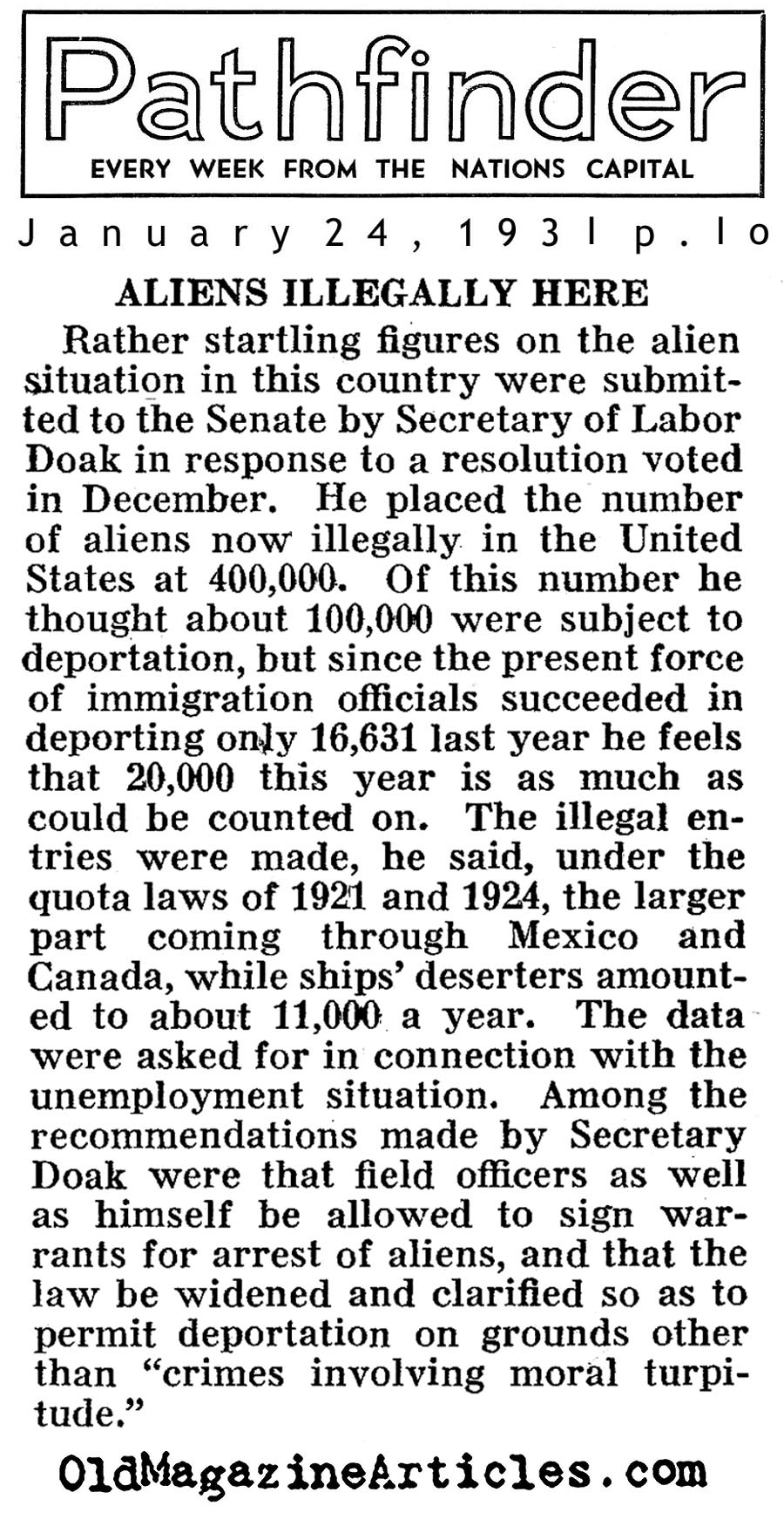In The Country Illegally (Pathfinder Magazine, 1931)
