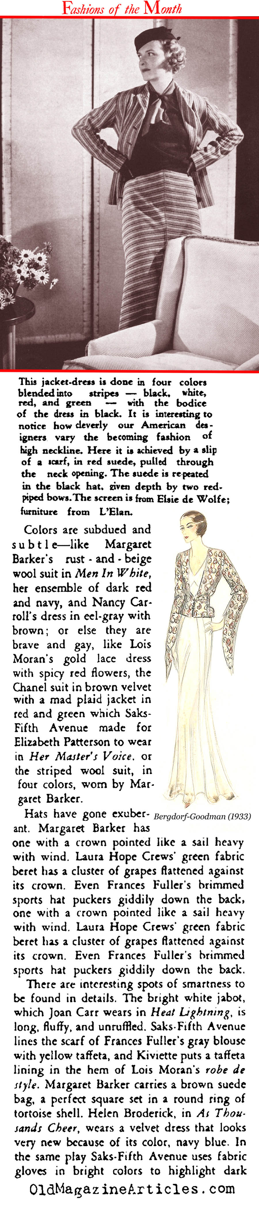 Broadway Costume Design for the Fall  (Stage Magazine, 1933)