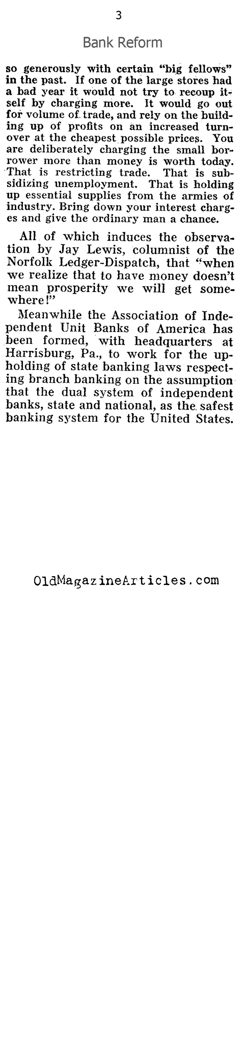 Reform The Banks! (Pathfinder Magazine, 1932)