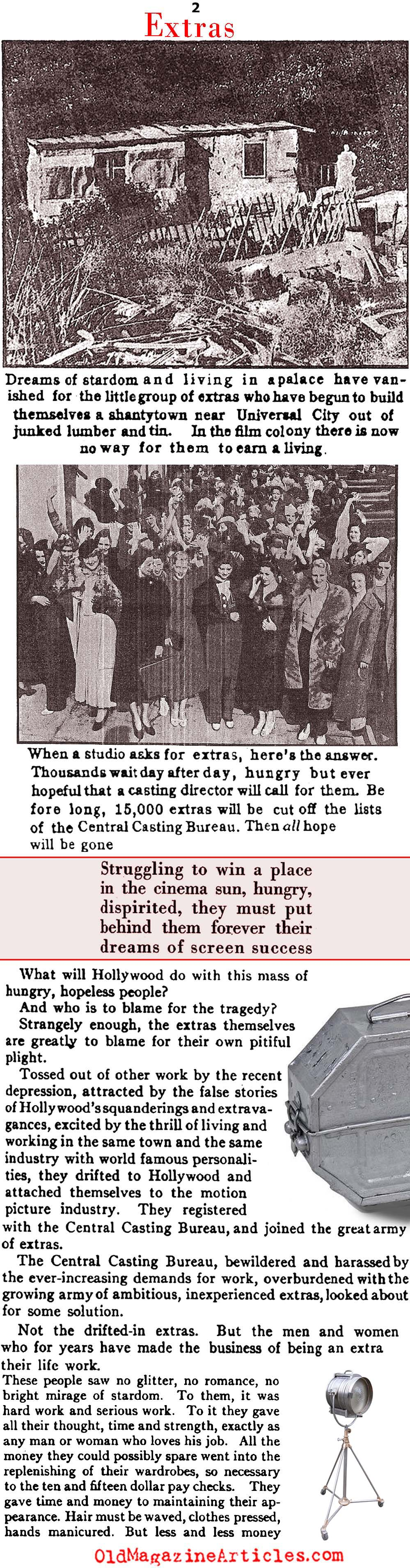 During the Depression Unskilled Labor Flocked to Hollywood  (Photoplay Magazine, 1934)