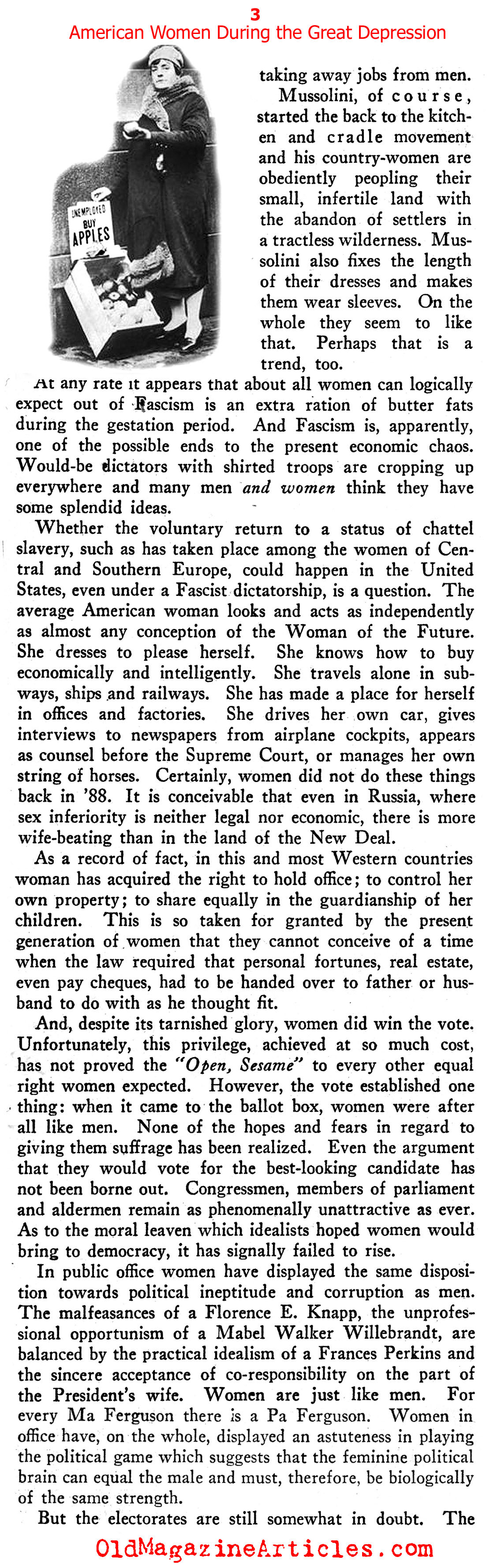 The Lot of Women in the Great Depression (New Outlook, 1934)
