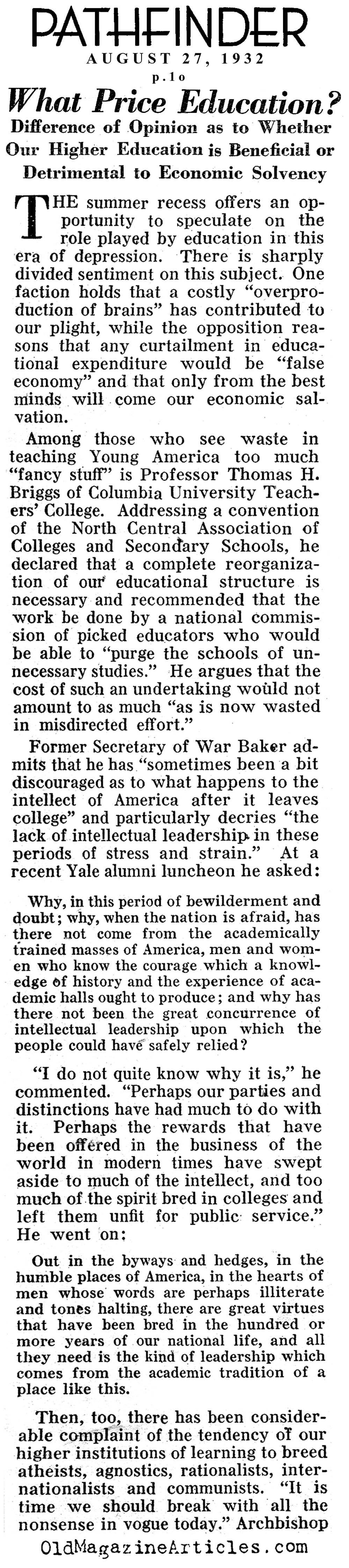 Are College Degrees Needed In Such A Bad Economy? (Pathfinder Magazine, 1932)