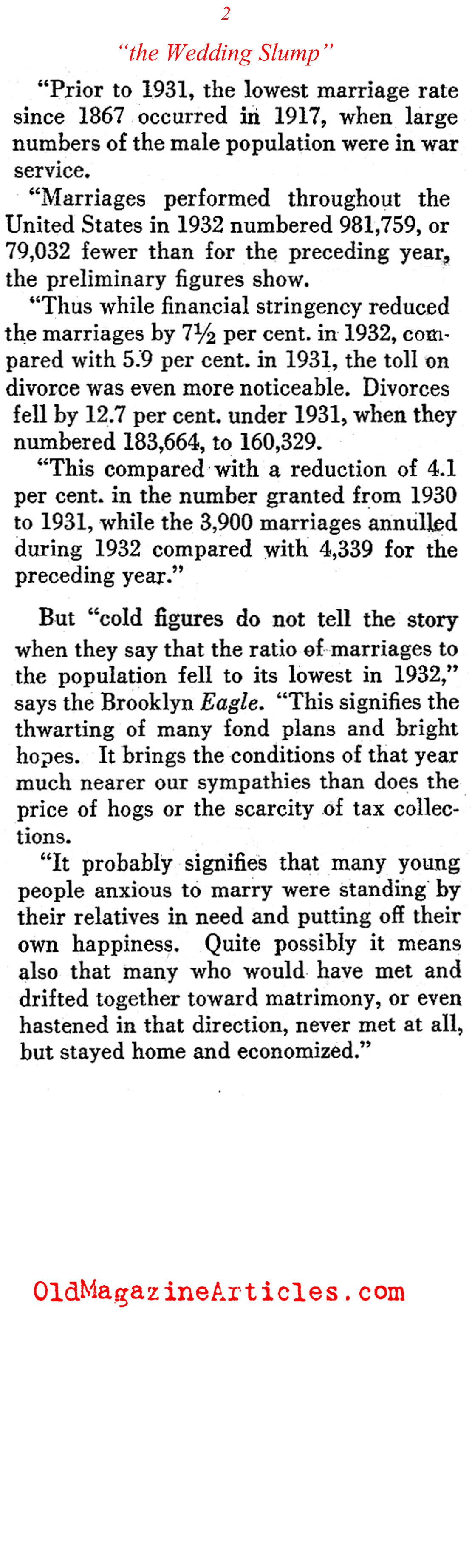 The Great Depression Reduced the Number of Marriages (The Pathfinder, 1933)
