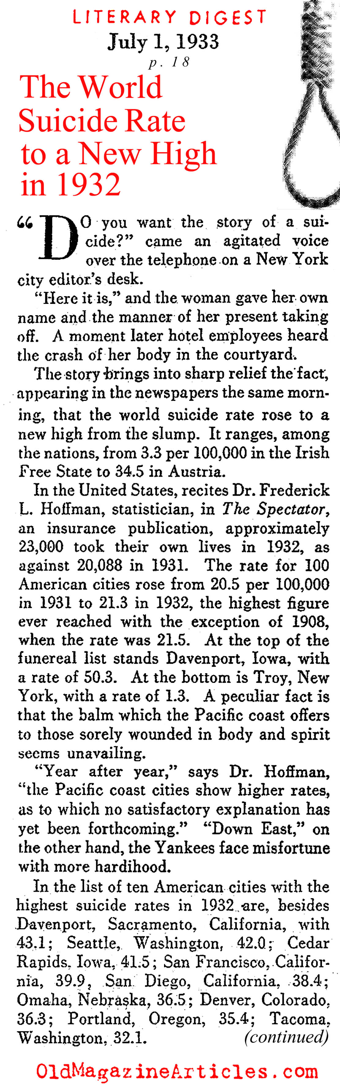 The Increased Suicide Rate (Literary Digest, 1933)