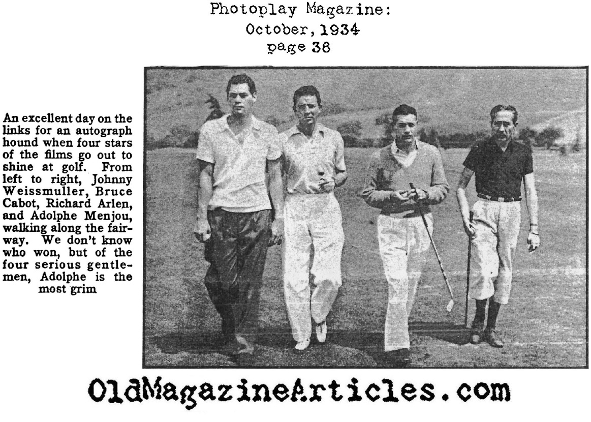 1930s Golf Attire Photoplay Magazine 1934