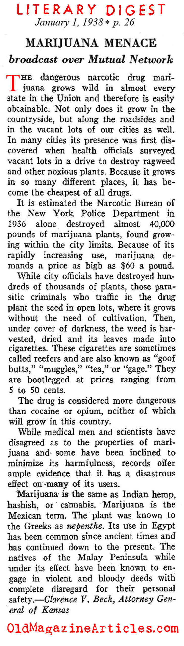 Marijuana in the Thirties (Literary Digest, 1938)