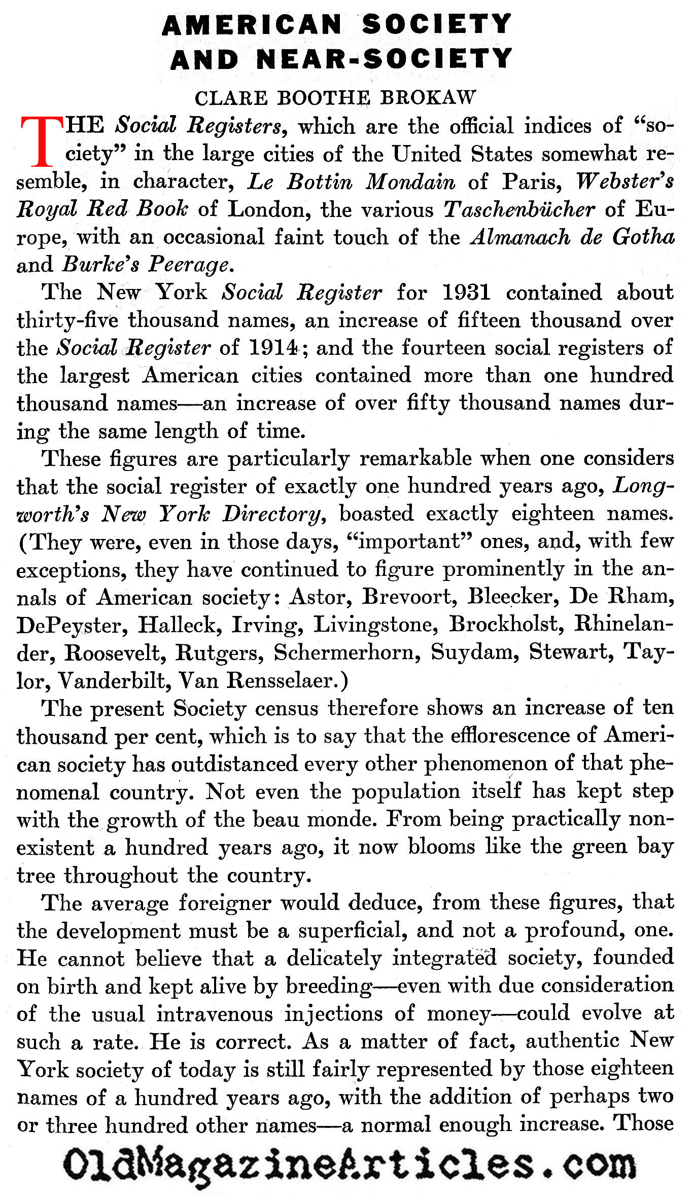 The New York Social Register (America, 1932)