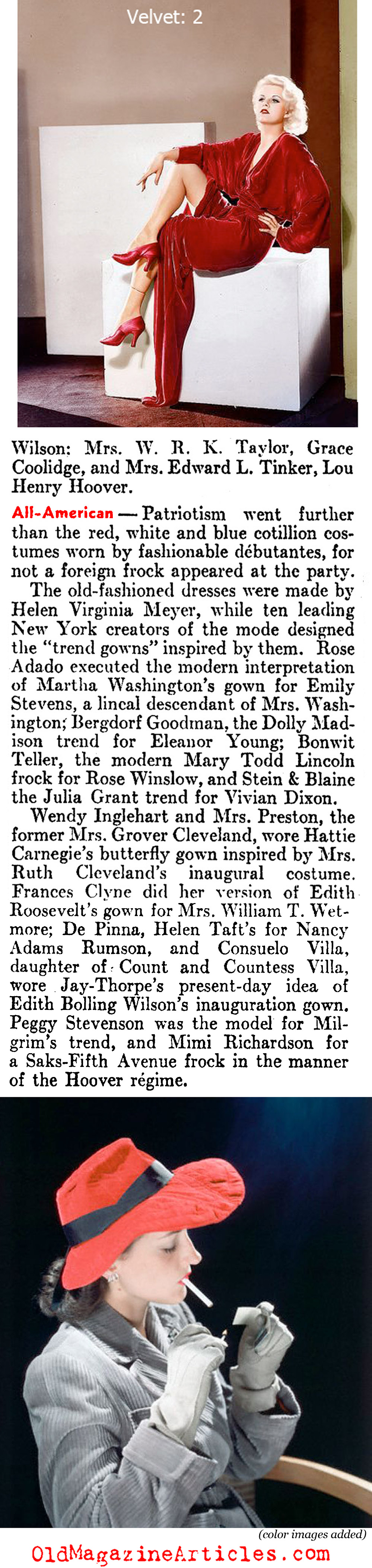 The New Glamour of Velvet (Literary Digest, 1936)