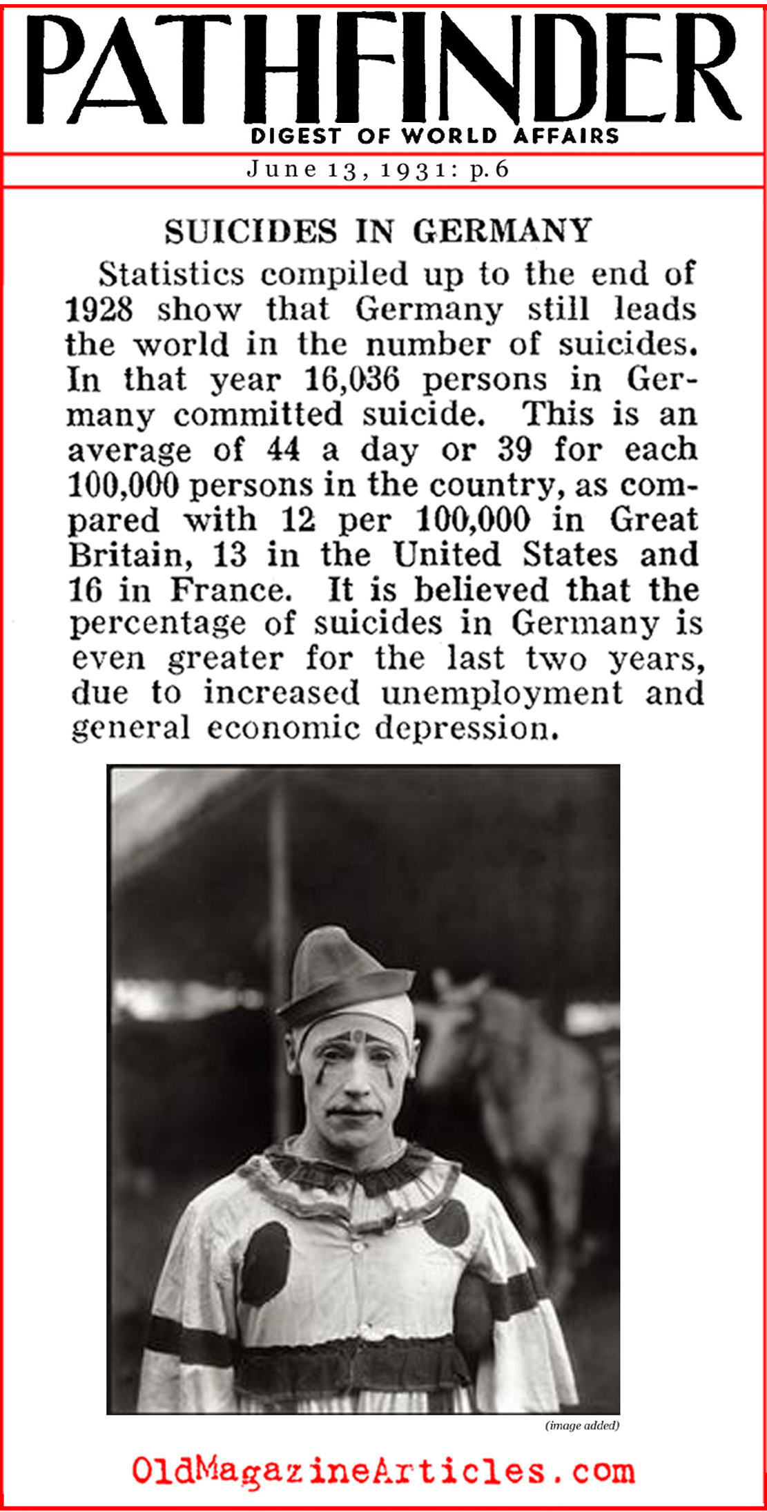 Over 15,000 Suicides in 1928 Germany (Pathfinder Magazine, 1931)