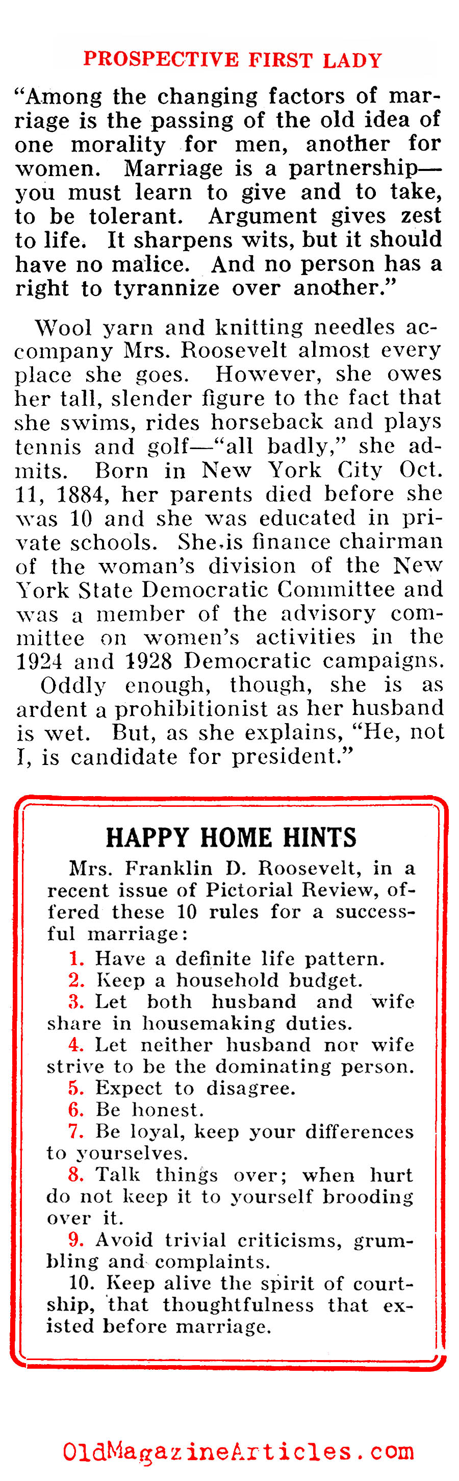 ''The Prospective First Lady'' (Pathfinder Magazine, 1932)