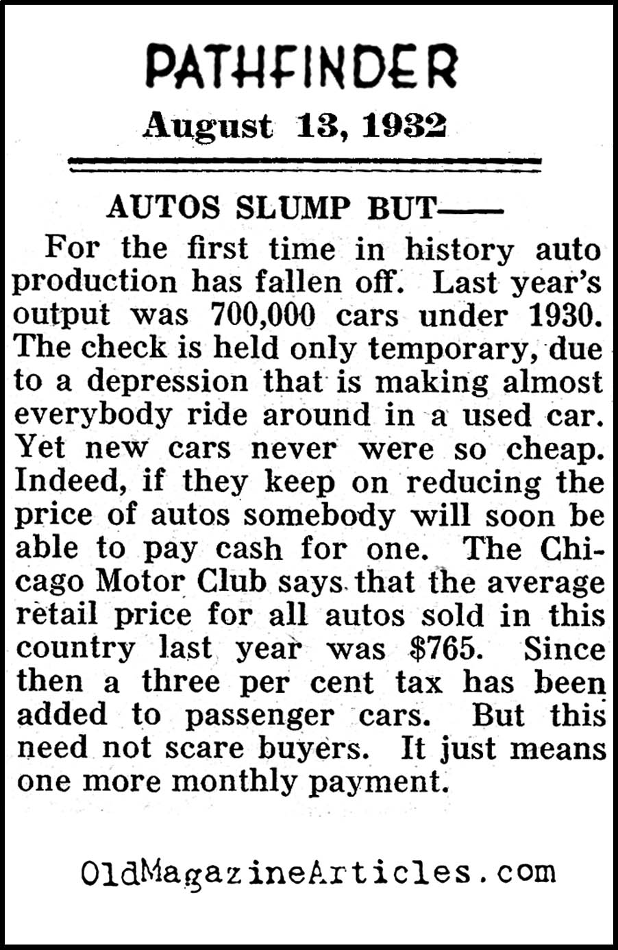 Motor City Takes It On The Chin (Pathfinder Magazine, 1932)