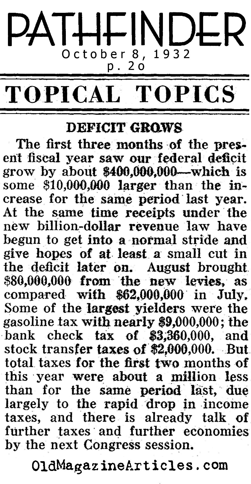 The Growth of the Deficit (Pathfinder Magazine, 1932)