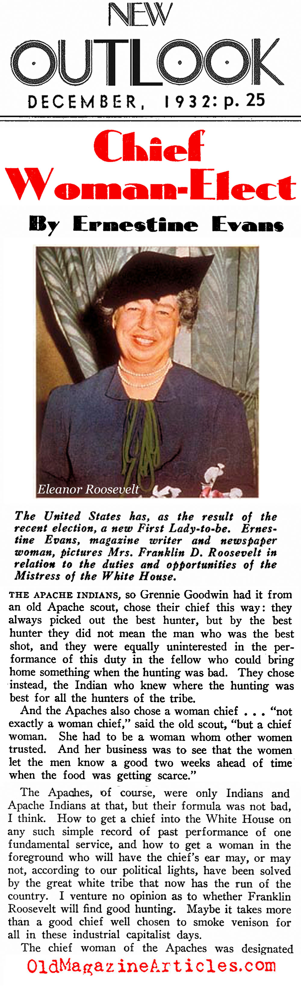 The ''Chief Woman-Elect'' (New Outlook Magazine, 1932)