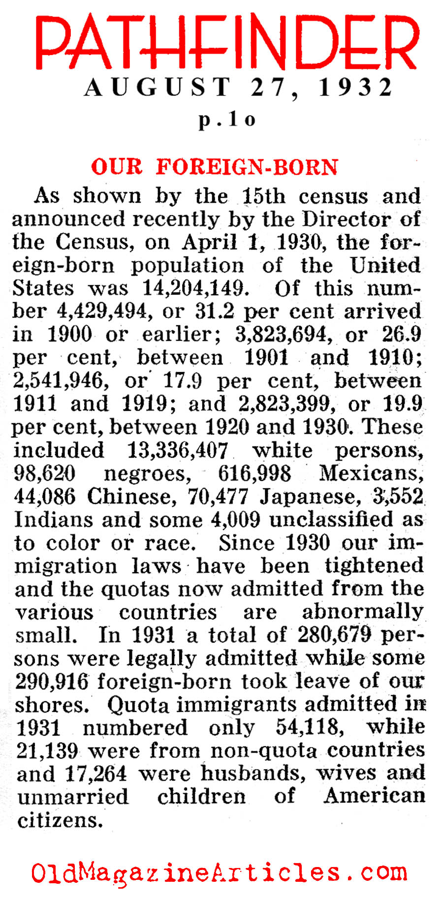 The Foreign-Born Population in the Early '30s (Pathfinder Magazine, 1932)