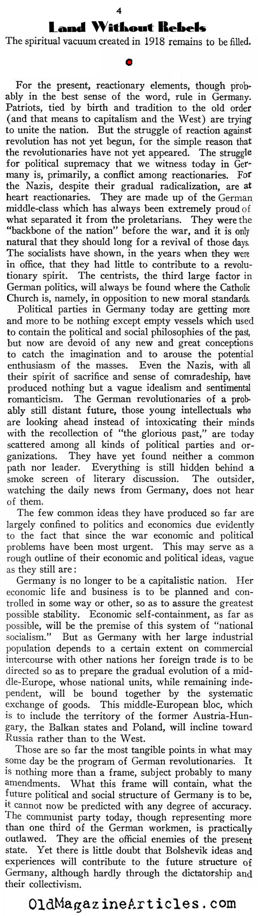 Germany on the Eve of Hitler (New Outlook Magazine, 1933)