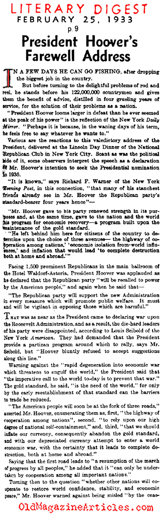 President Hoover's Farewell Address (Literary Digest, 1933)