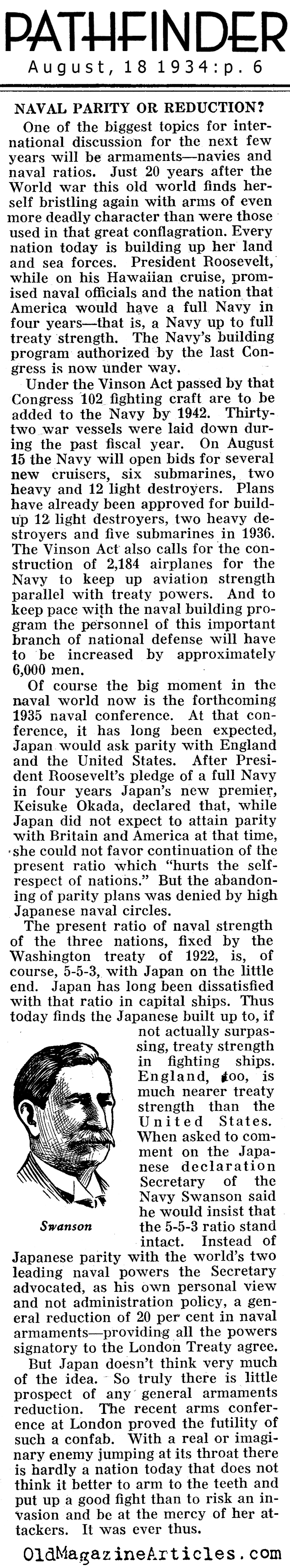 U.S. Congress Approves Naval Expansion (Pathfinder Magazine, 1934)
