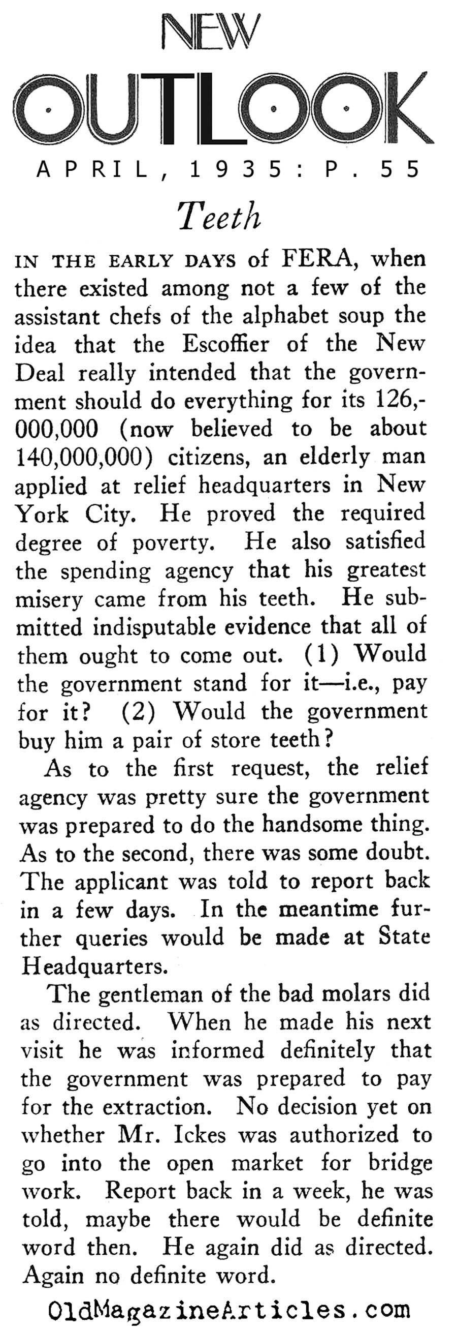 NEW DEAL ANECDOTE 1935 | FERA AGENCY HISTORY | SOCIALIZED MEDICINE