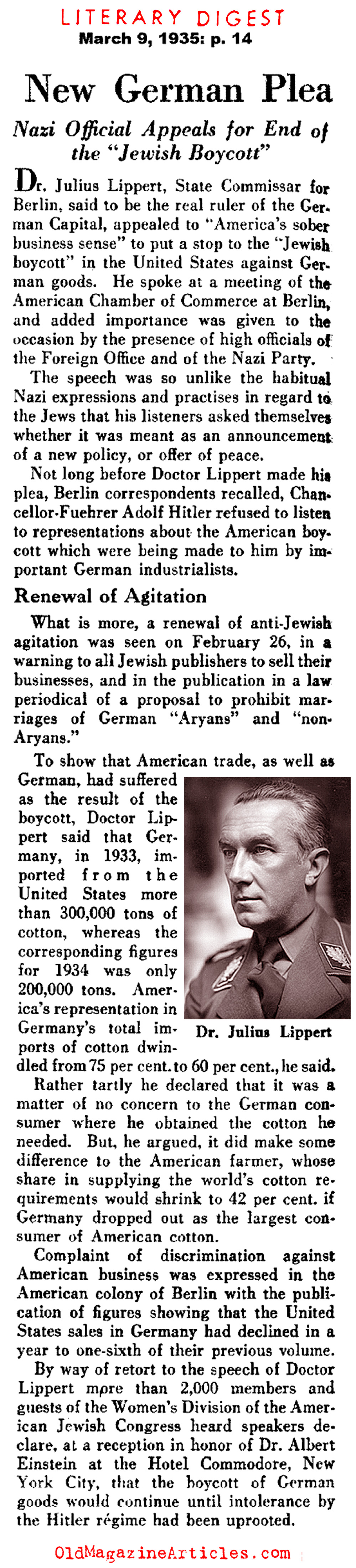 Jewish Americans Boycotted German Products (Literary Digest, 1935)