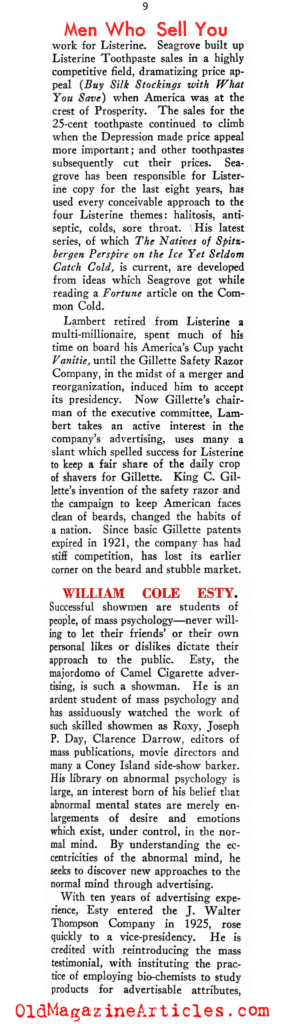 Winners in the 1920s Ad Game (New Outlook Magazine, 1934)