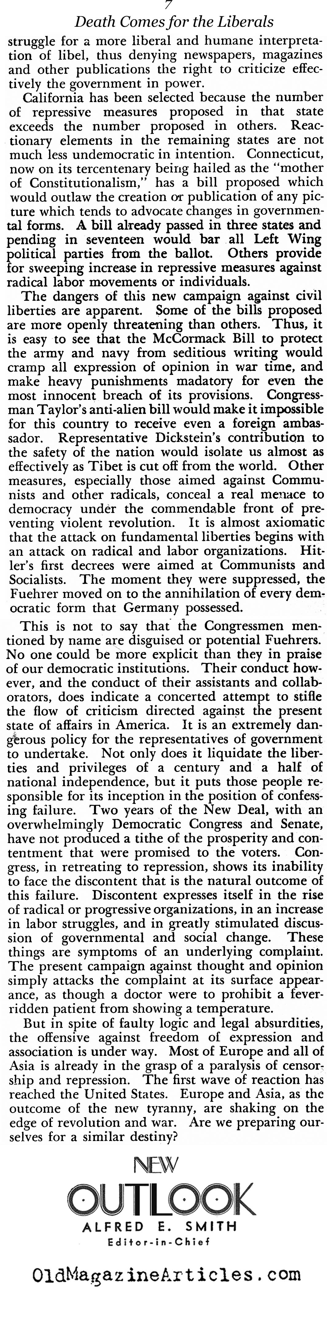 Tyranny At Home (New Outlook Magazine, 1935)