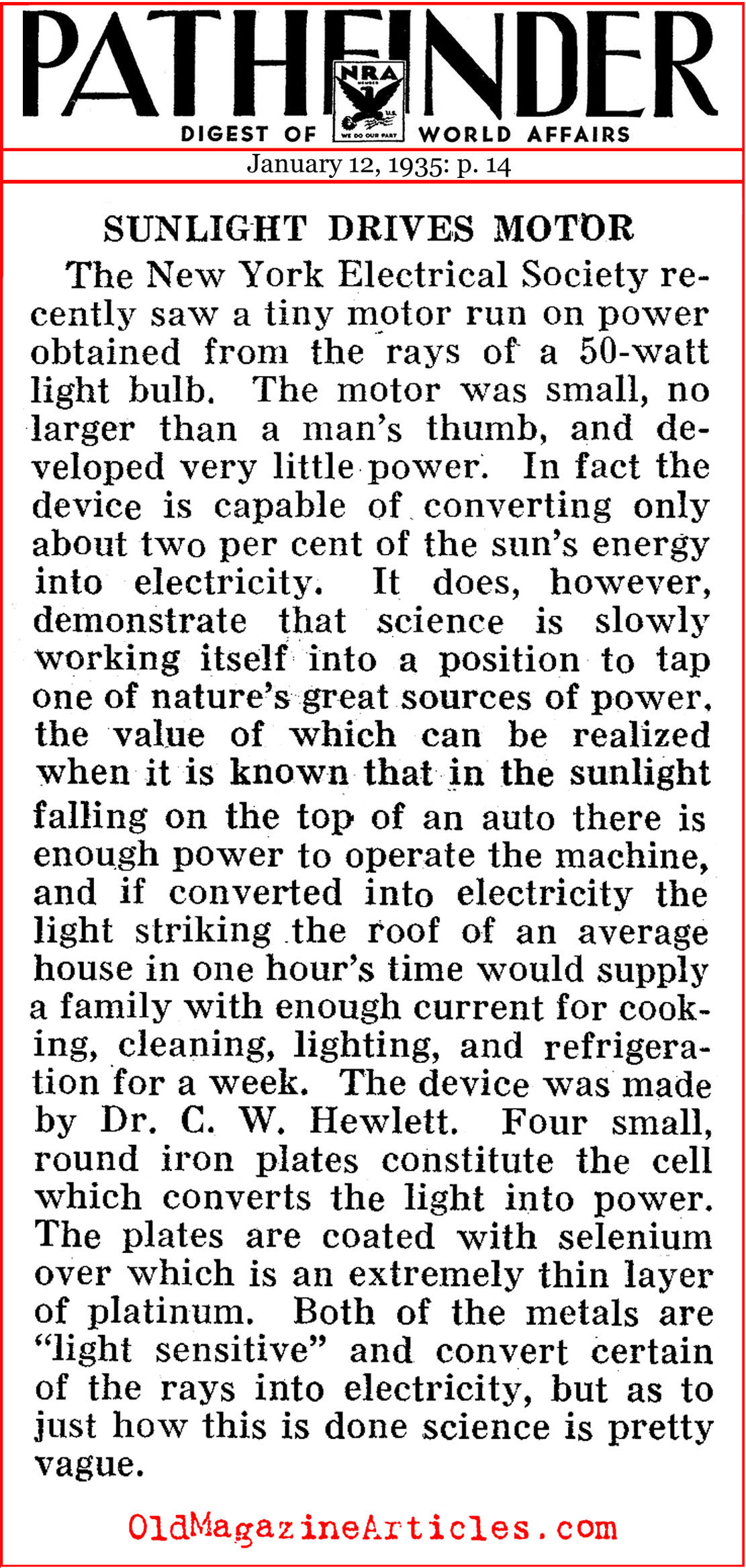 The Solar Motor (Pathfinder Magazine, 1935)