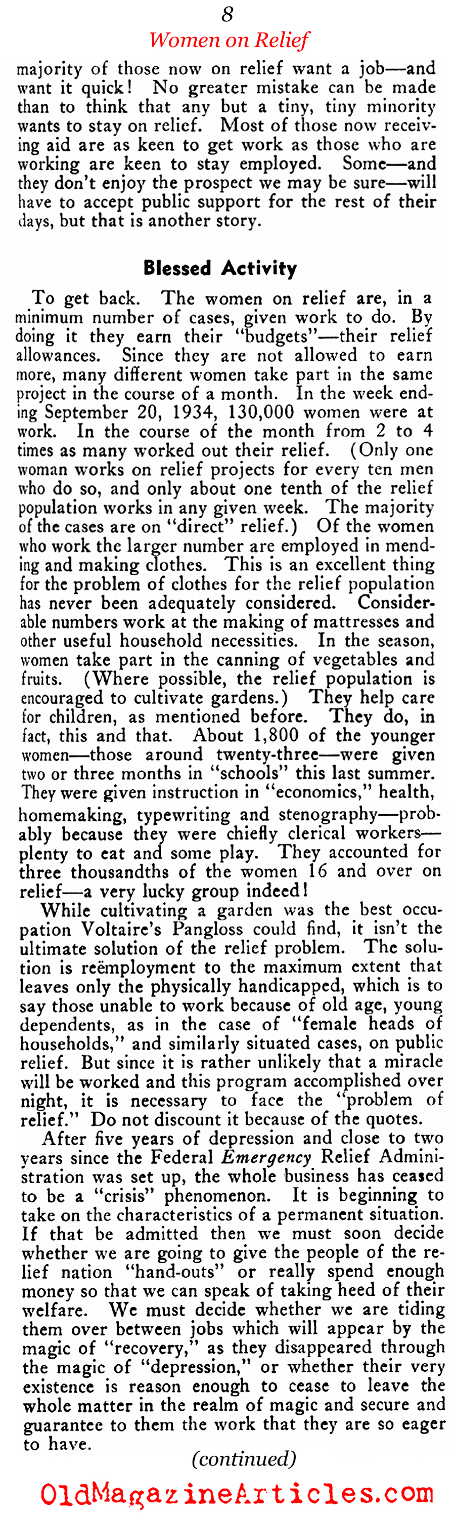 Women on the Relief Rolls (New Outlook Magazine, 1935)