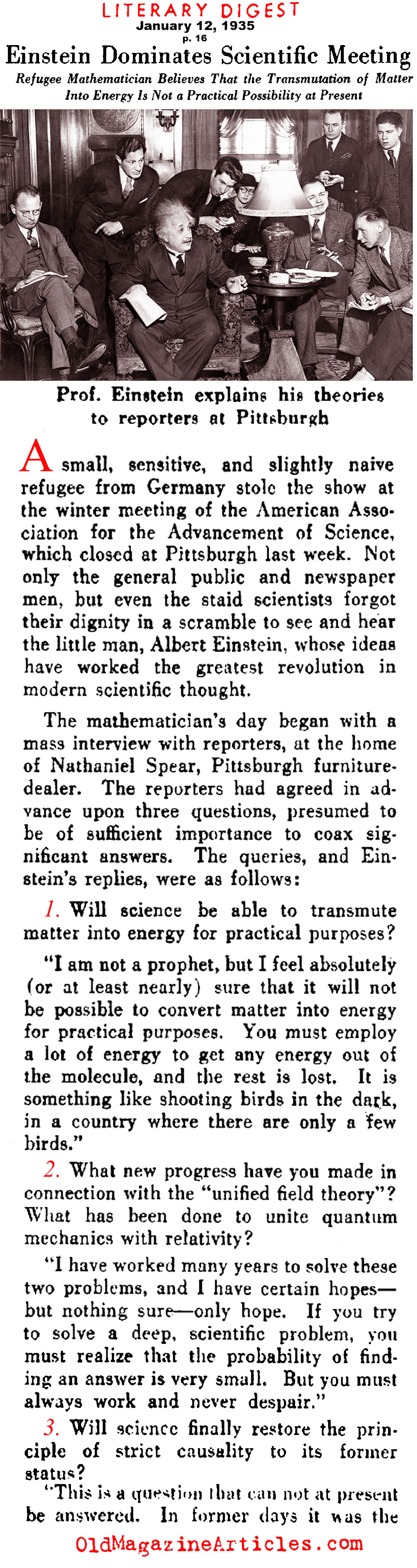 Albert Einstein Magazine Interview  (Literary Digest, 1935)
