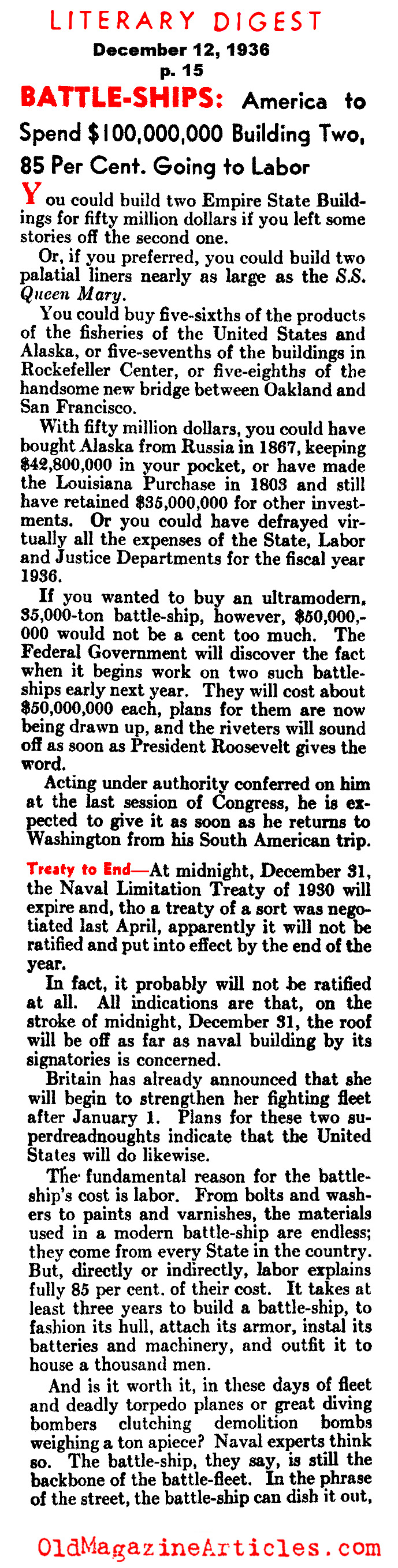 Military Buildup in the United States (Literary Digest, 1936)